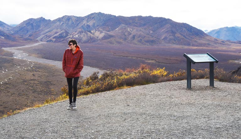 Hannah at Polychrome Overlook in Denali National Park